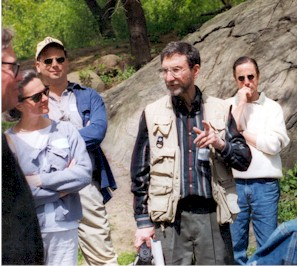 Gil Tauber, historian, gives a walking tour in Riverside Park